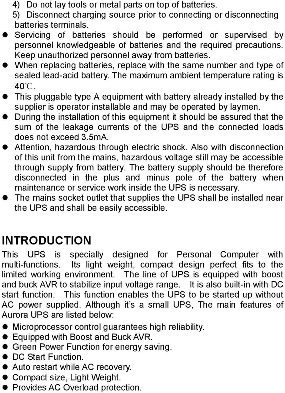 User S Manual Aurora 12k 22k Pdf Ups Circuit Diagram When Replacing Batteries Replace With The Same Number And Type Of Sealed Lead Acid
