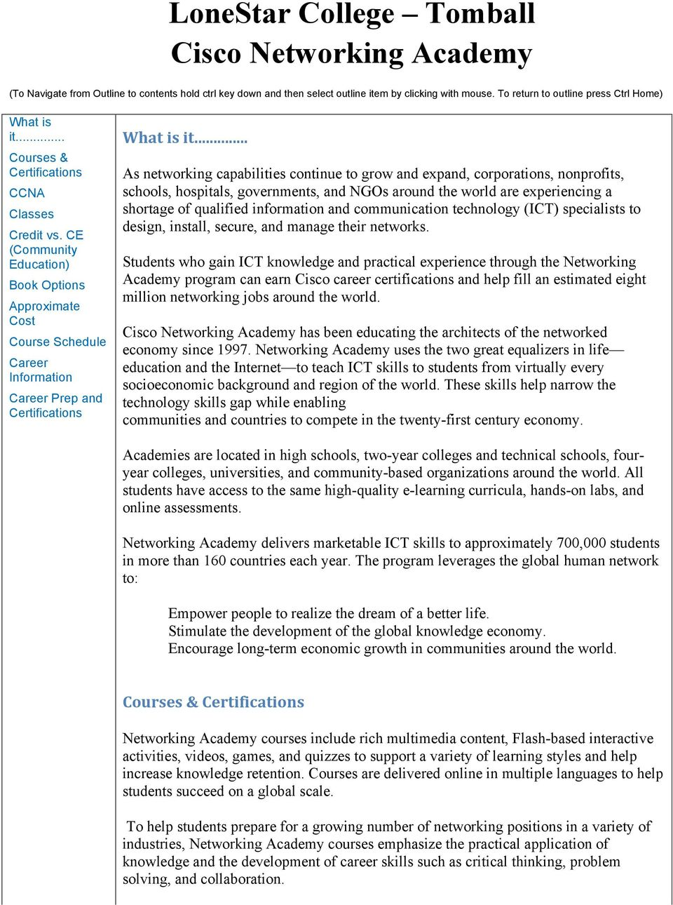 LoneStar College Tomball Cisco Networking Academy - PDF Free