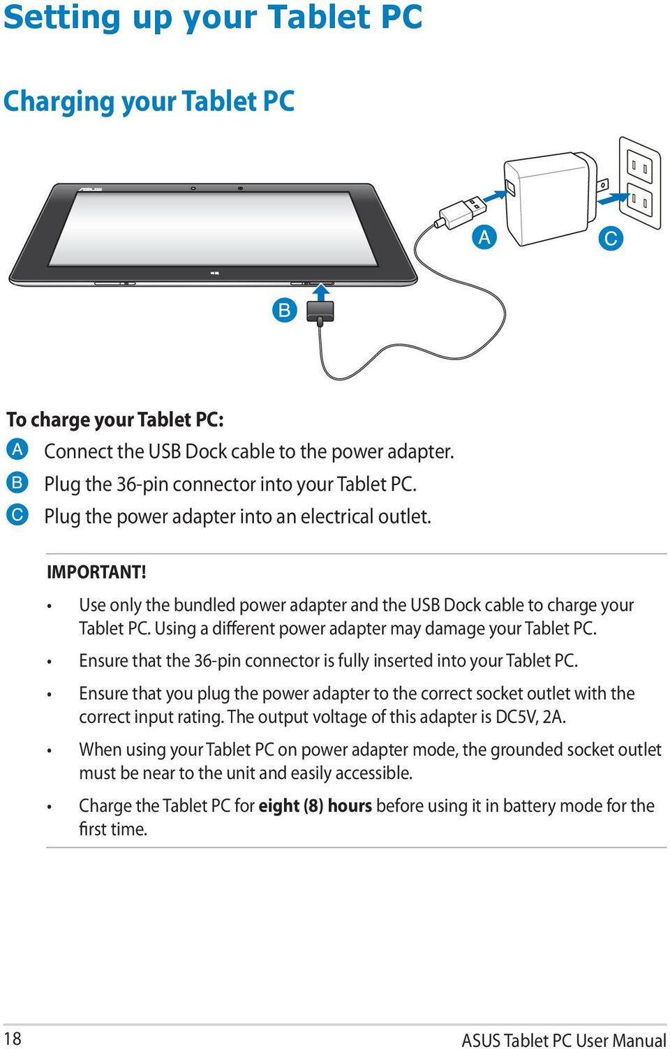 Tablet Pc User Manual Tf600t Pdf Asus Usb Cable Wiring Diagram 18 Using A Different Power Adapter May Damage Your Ensure That The 36