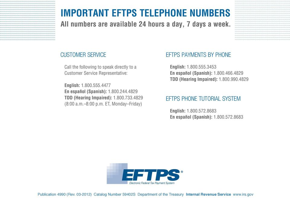 Electronic Federal Tax Payment System Payment Instruction Booklet