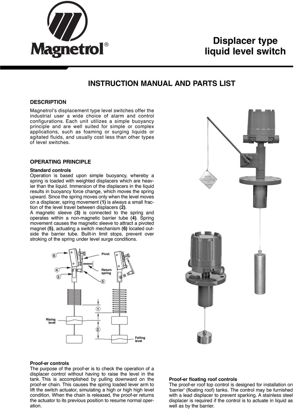 B15 Magnetrol Level Switch Wiring Diagram Trusted Diagrams Liquid Displacer Type Pdf
