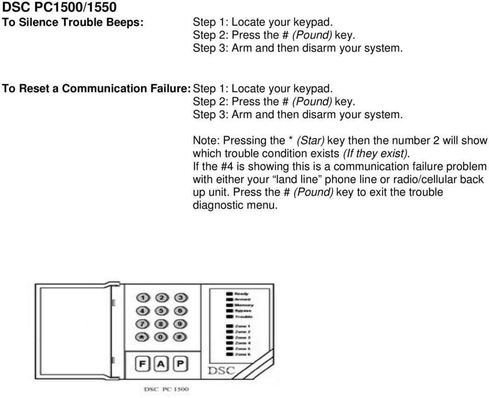 AMPS Information  The keypad pictures listed here may vary from your