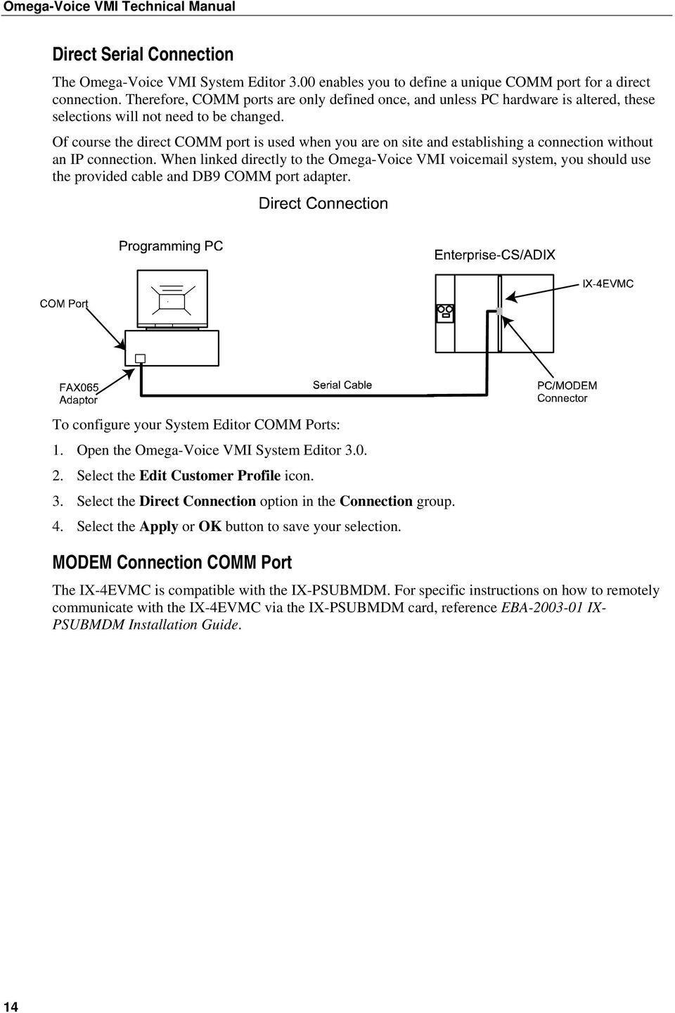 Technical Manual Fifth Edition Pdf Vmi Wiring Diagram Of Course The Direct Comm Port Is Used When You Are On Site And Establishing A