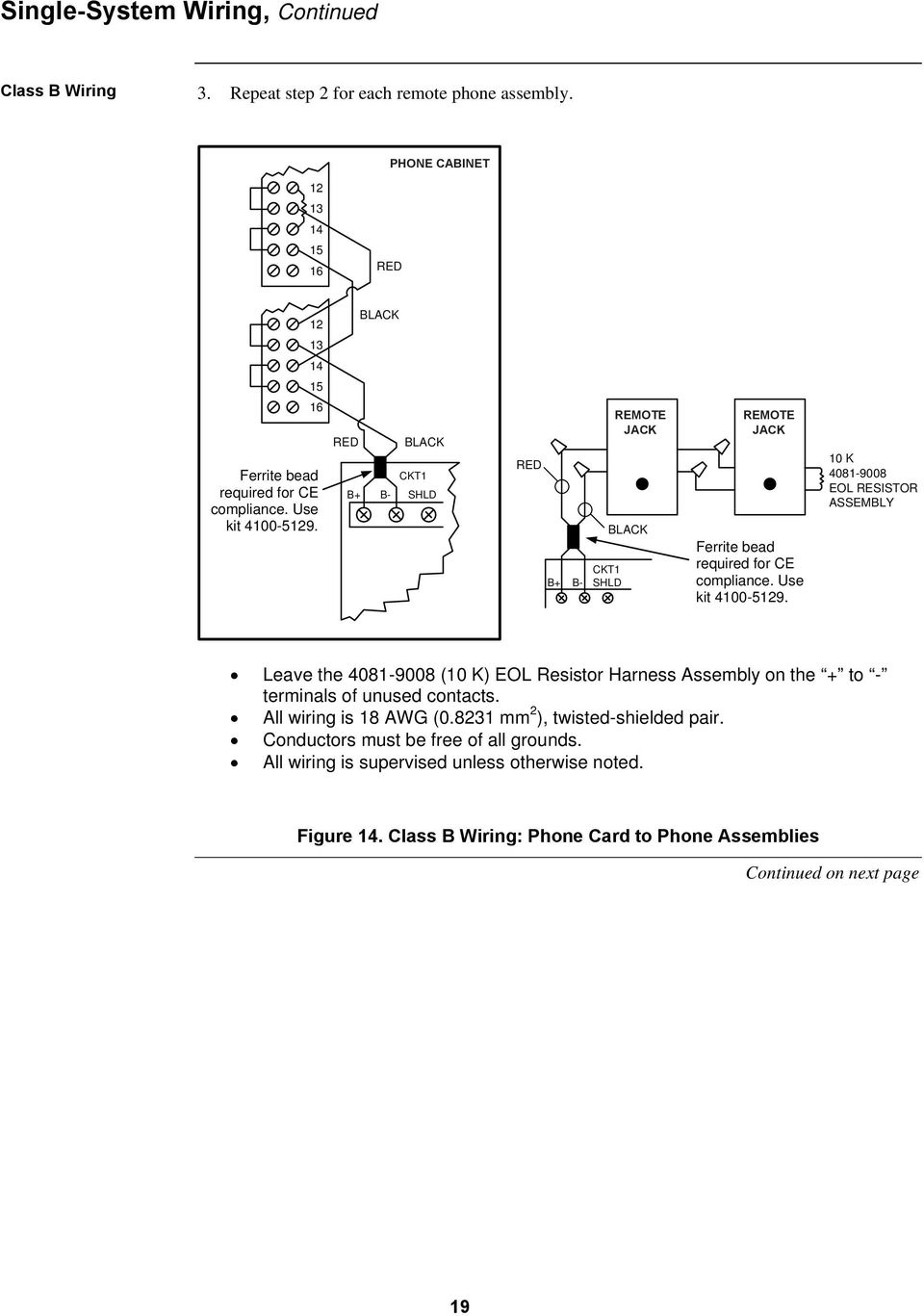 Fire Fighter Phone System Installation Instructions Pdf Eol Resistor Wiring Diagram Red Black Ckt1 B Shld Remote Jack