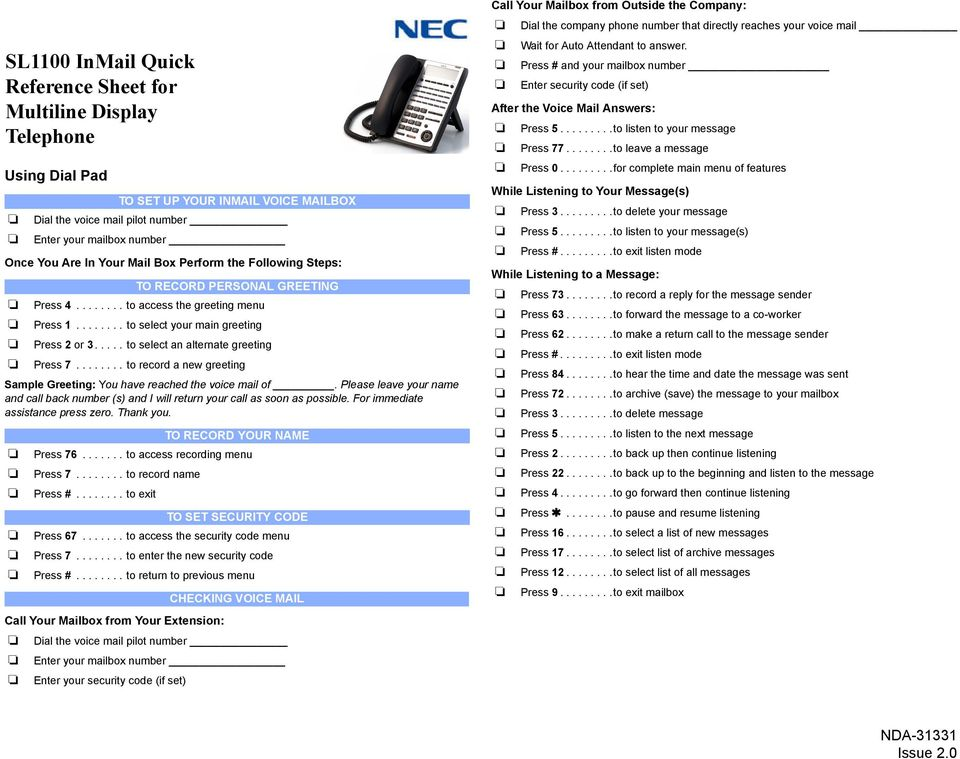 SL1100 InMail Quick Reference Sheet for Multiline Display
