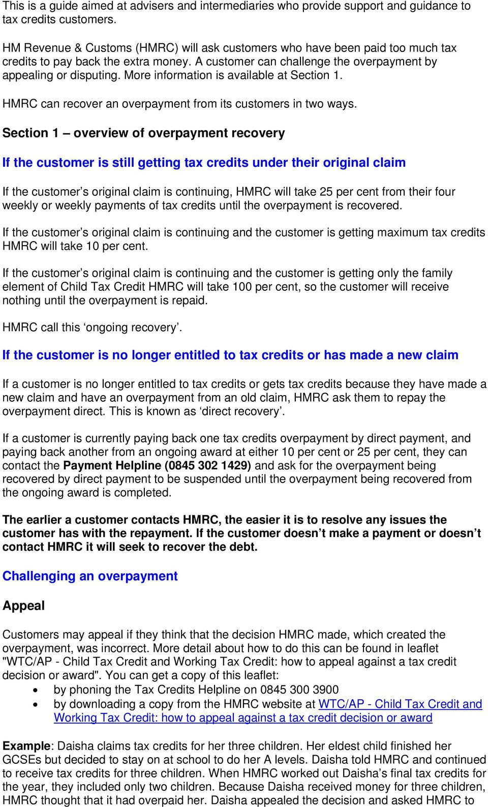 How Much Tax Credits Will I Get >> How Hm Revenue Customs Handle Tax Credits Overpayments Pdf