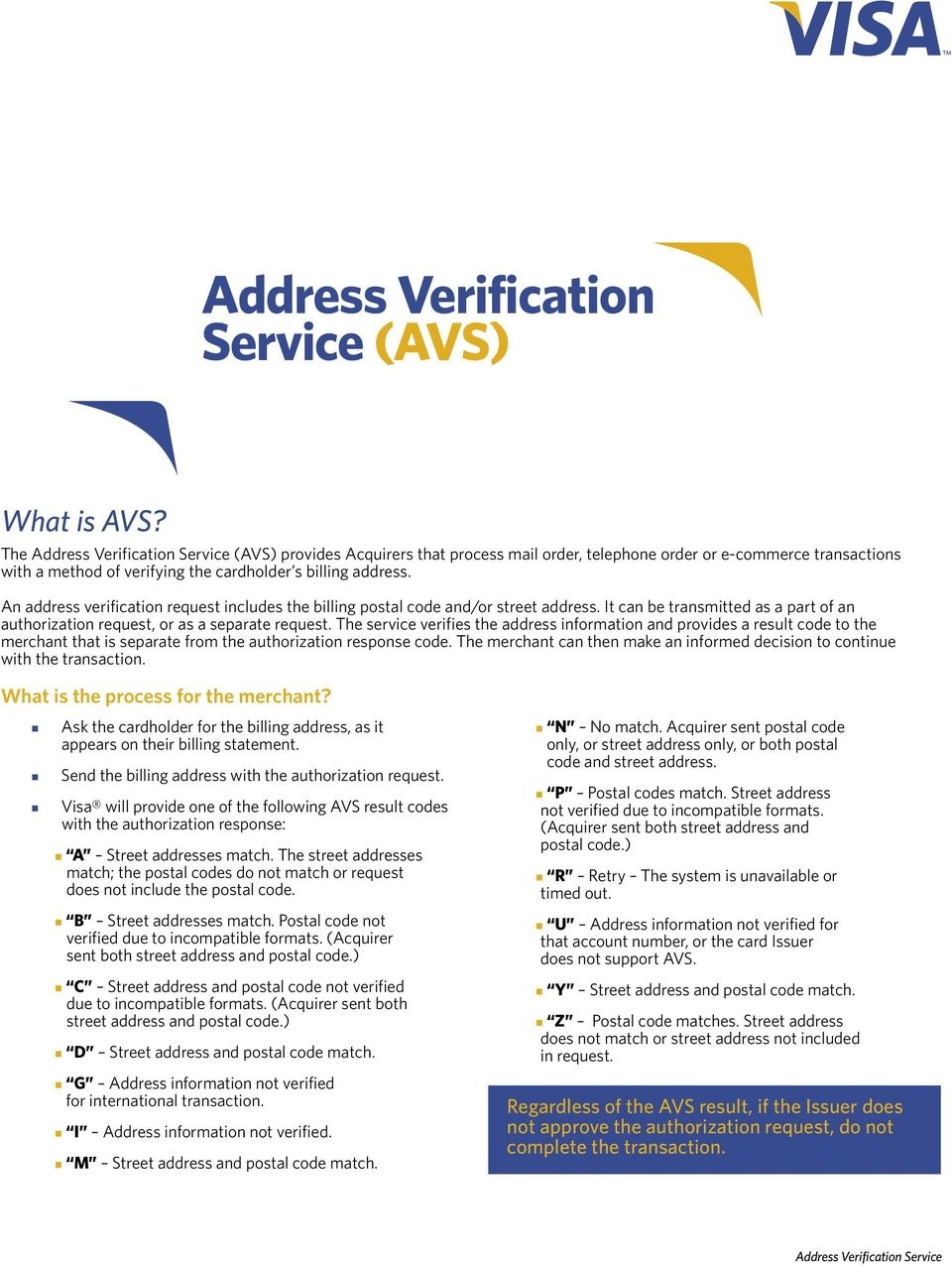 An address verification request includes the billing postal code and/or street address. It can be transmitted as a part of an authorization request, or as a separate request.