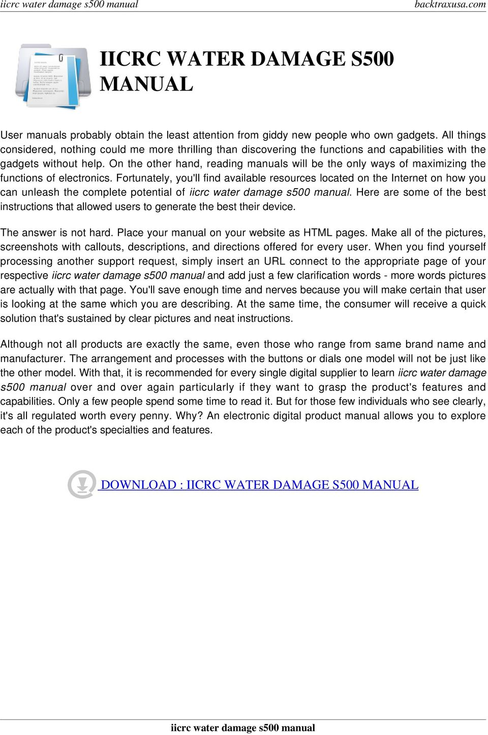 Iicrc water damage s500 manual pdf on the other hand reading manuals will be the only ways of maximizing the functions fandeluxe Images