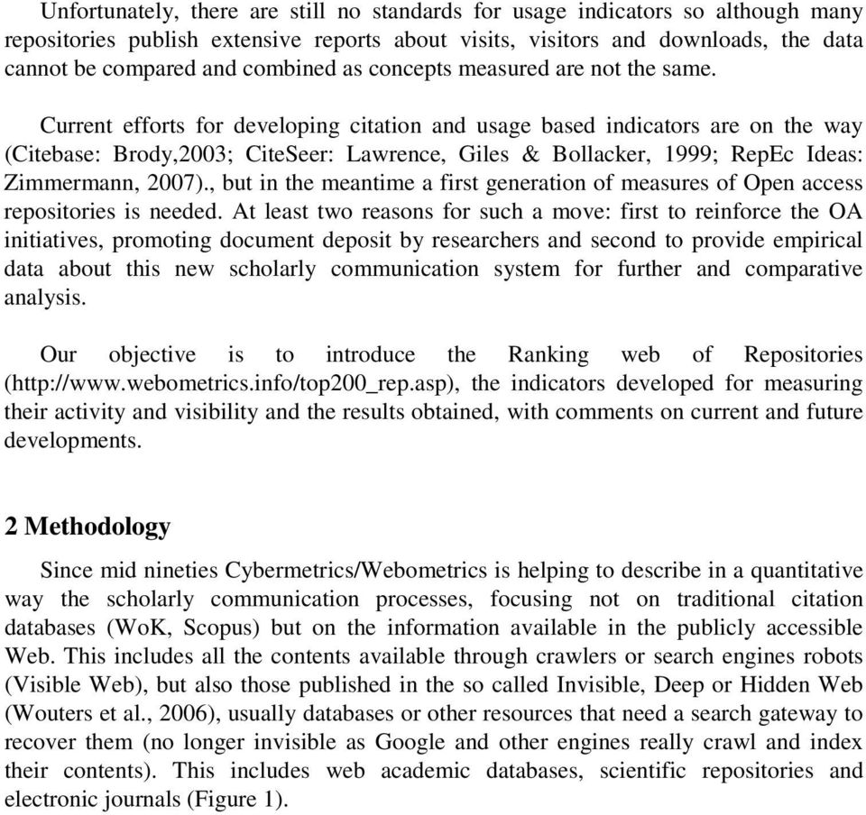 Indicators for a Webometric Ranking of Open Access