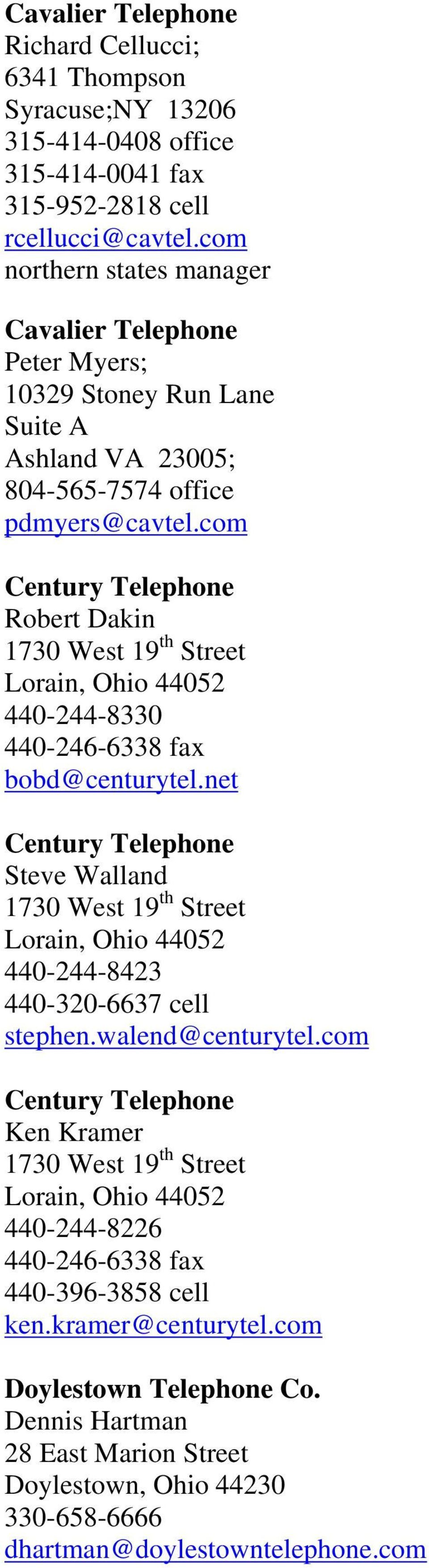 Telephone Companies At T Of Ohio Formerly Sbc Pam Murphy 130 N