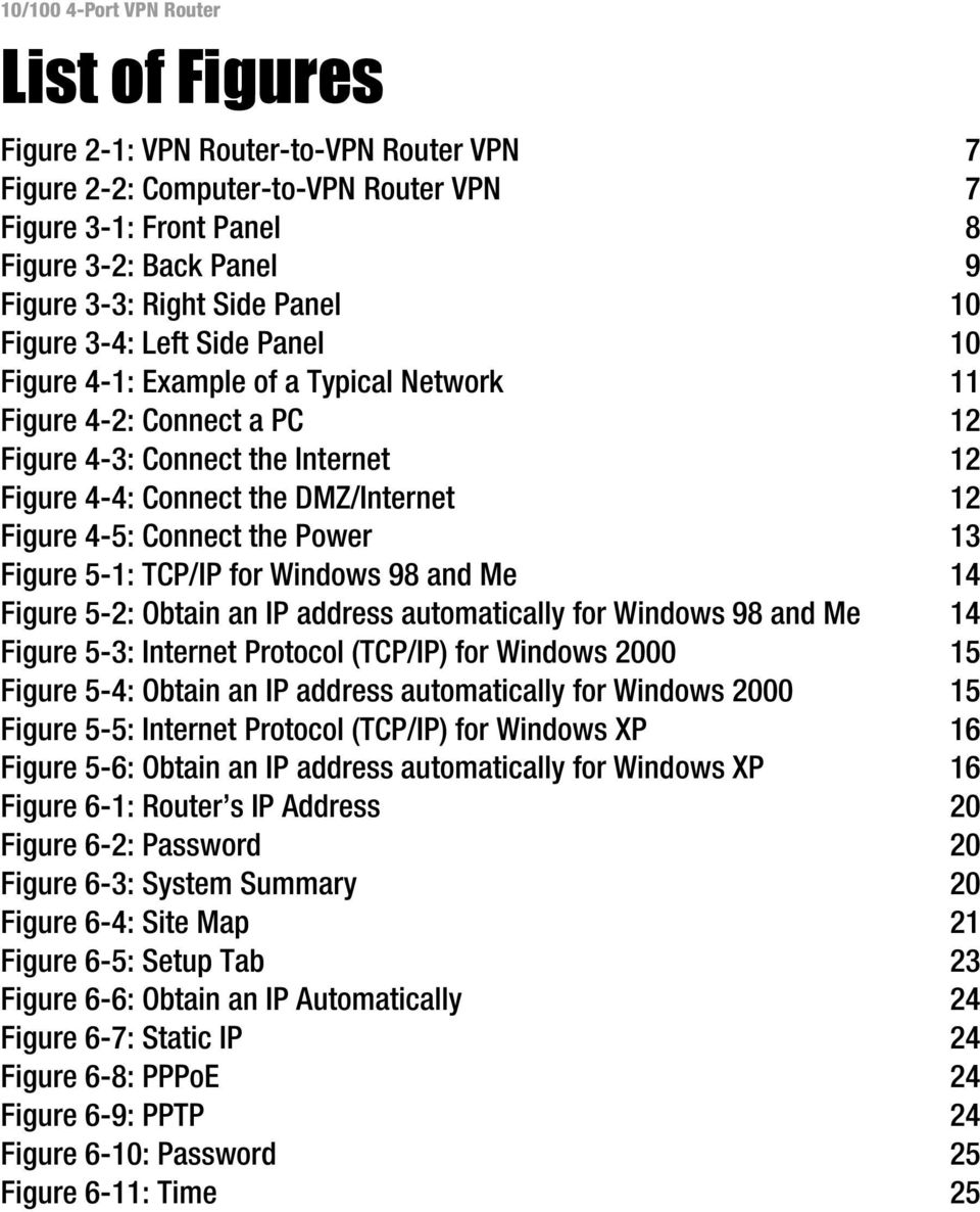 Figure 5-1: TCP/IP for Windows 98 and Me 14 Figure 5-2: Obtain an IP address automatically for Windows 98 and Me 14 Figure 5-3: Internet Protocol (TCP/IP) for Windows 2000 15 Figure 5-4: Obtain an IP