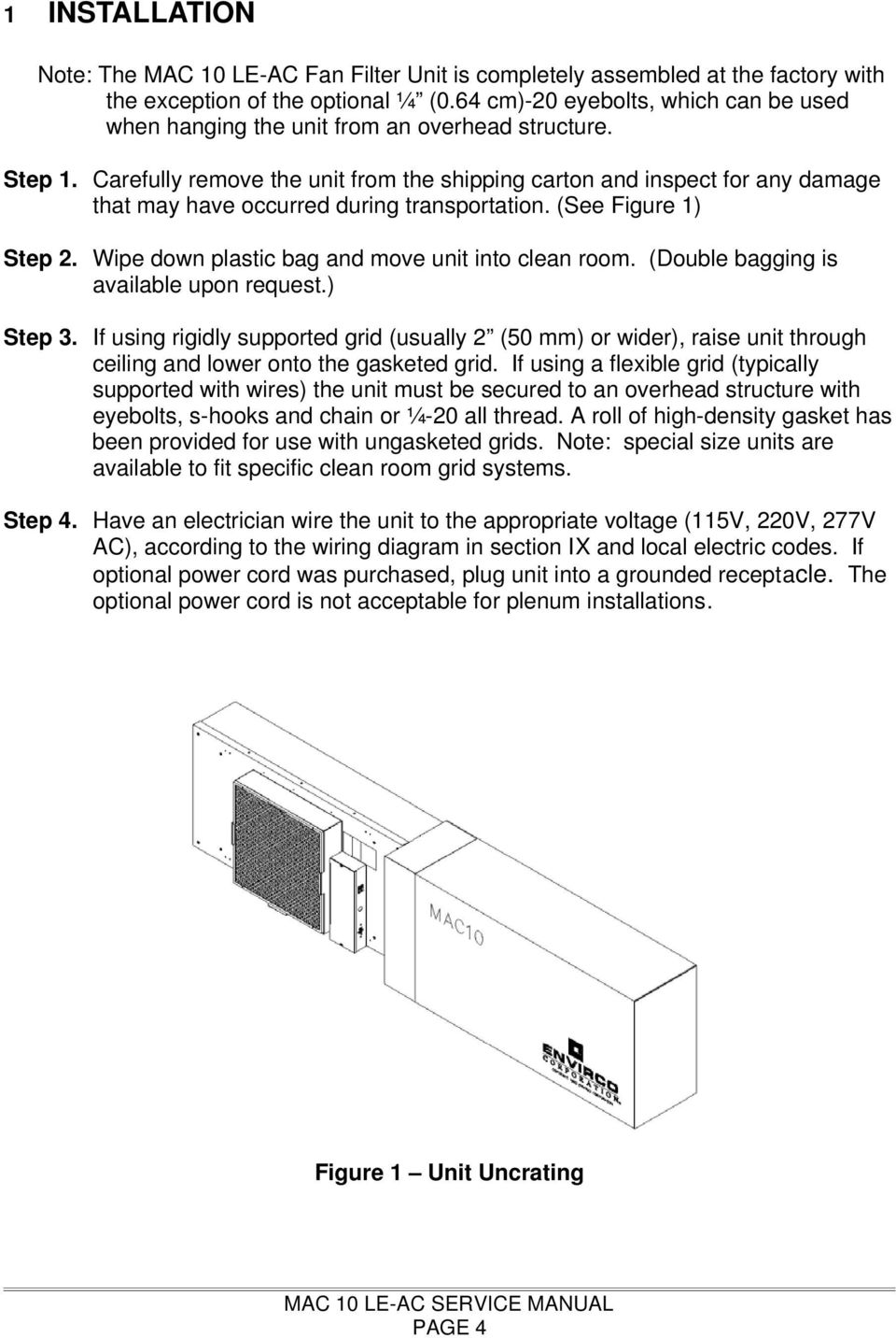 Mac 10 Le Ac Fan Filter Module Installation And Service Manual Pdf Power Clean Wiring Diagram Carefully Remove The Unit From Shipping Carton Inspect For Any Damage That May Have