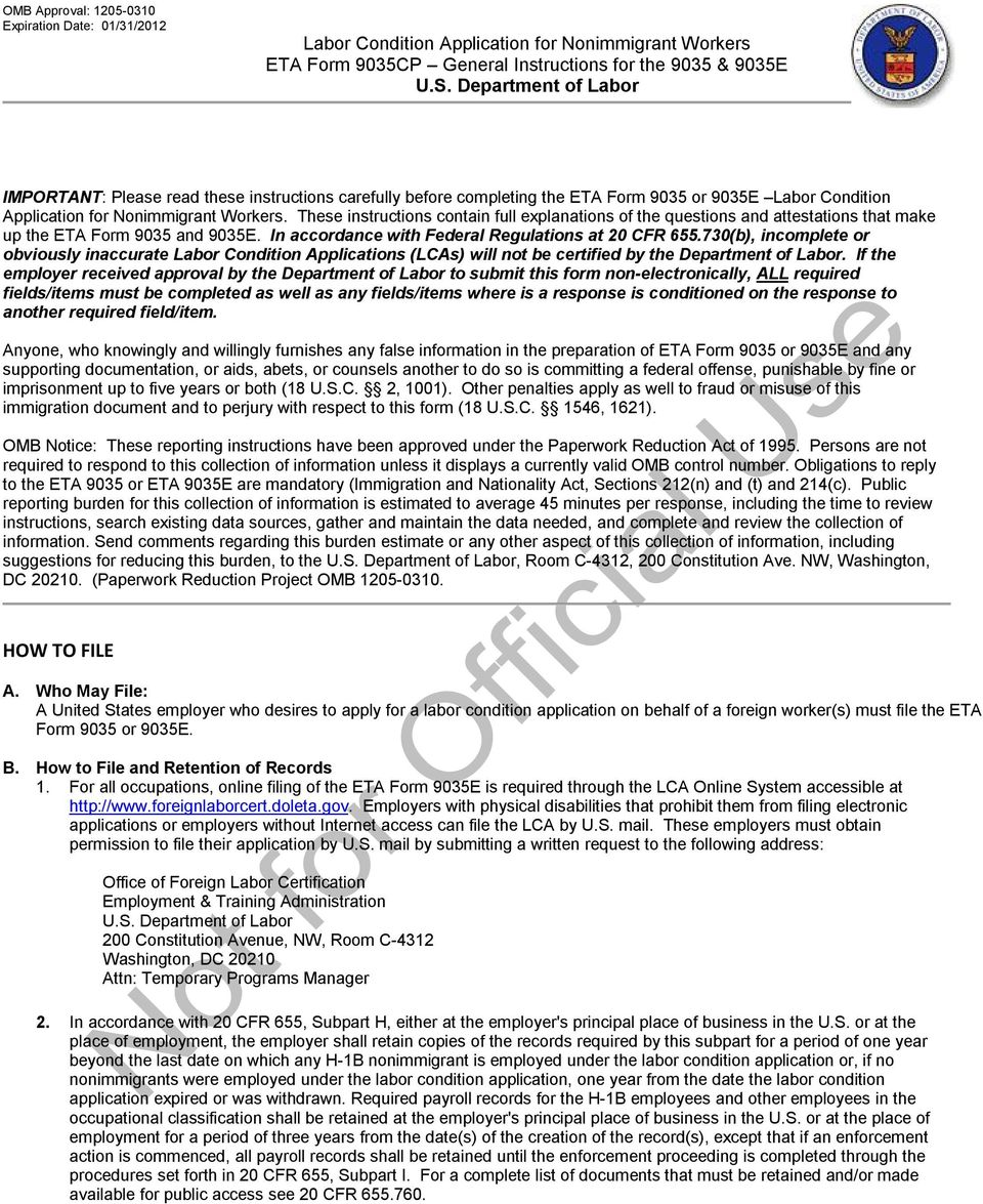 Us Department Of Labor Important Pdf