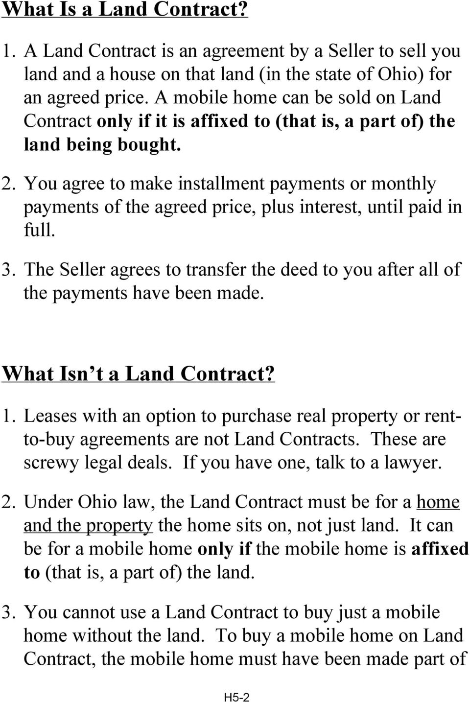 What You Should Know About LAND CONTRACTS - PDF