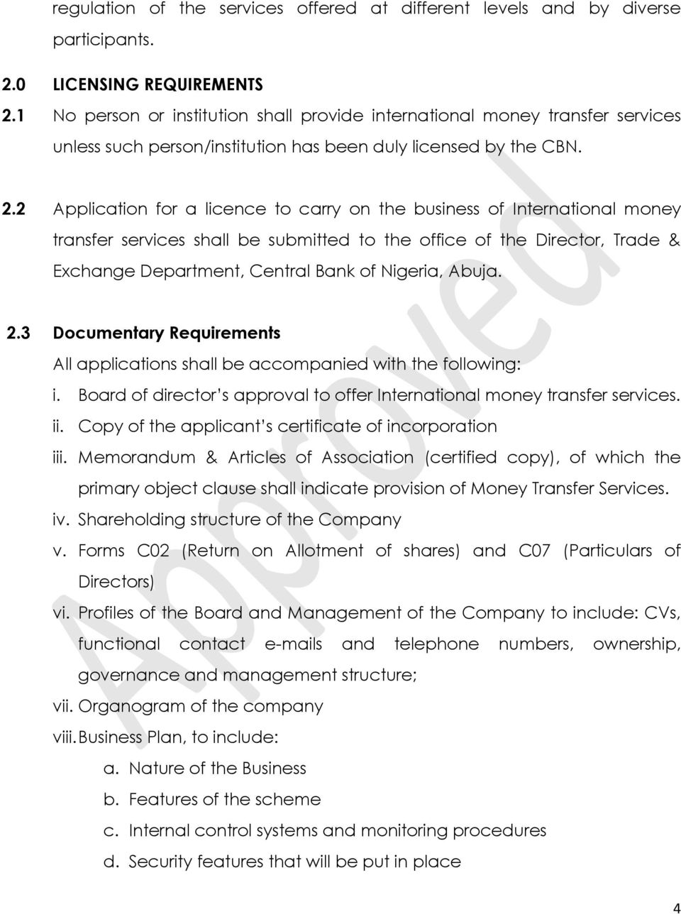 CENTRAL BANK OF NIGERIA  Guidelines on International Money