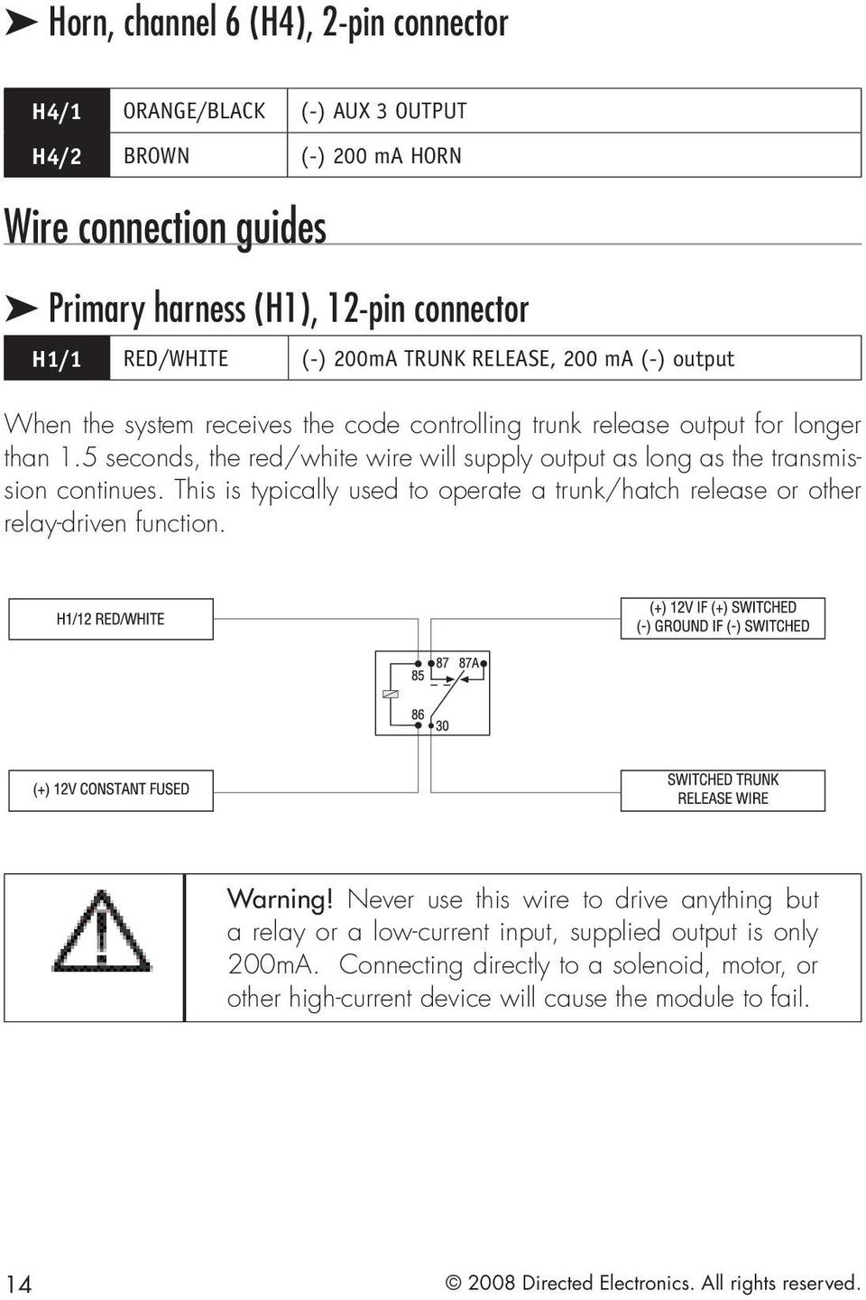Model 5303 Installation Guide Pdf State Timer Wiring Diagram Besides Alarm Horn 12v Relay 5 Seconds The Red White Wire Will Supply Output As Long Transmission