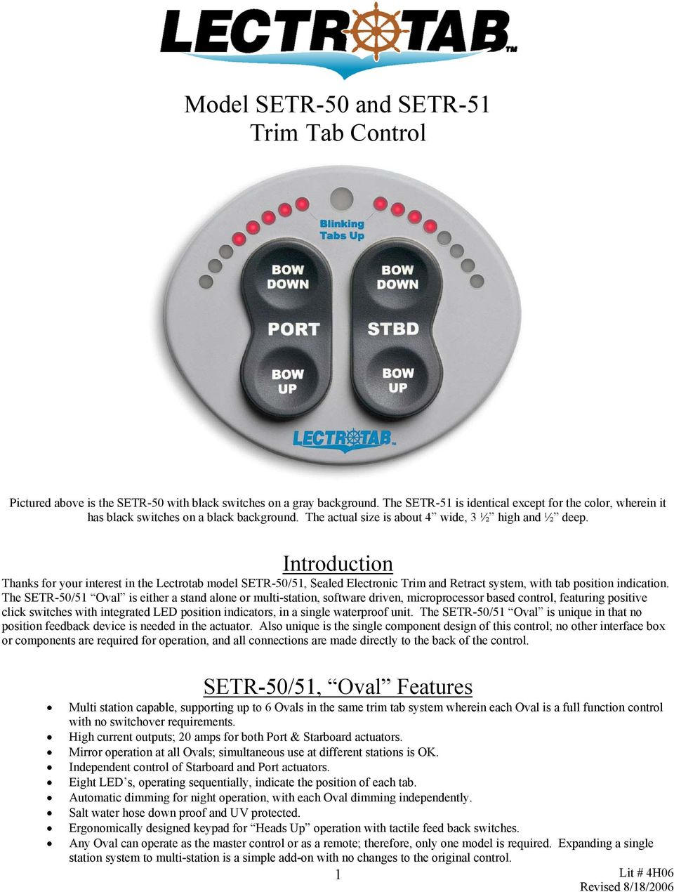 Model SETR-50 and SETR-51 Trim Tab Control - PDF