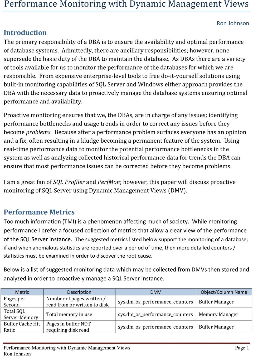 Performance Monitoring with Dynamic Management Views - PDF