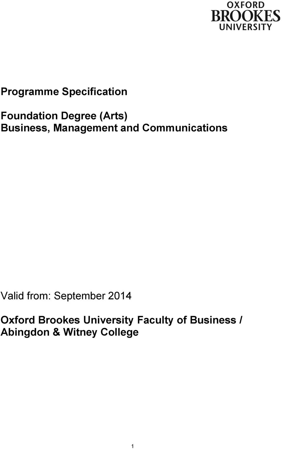 Valid from: September 2014 Oxford Brookes