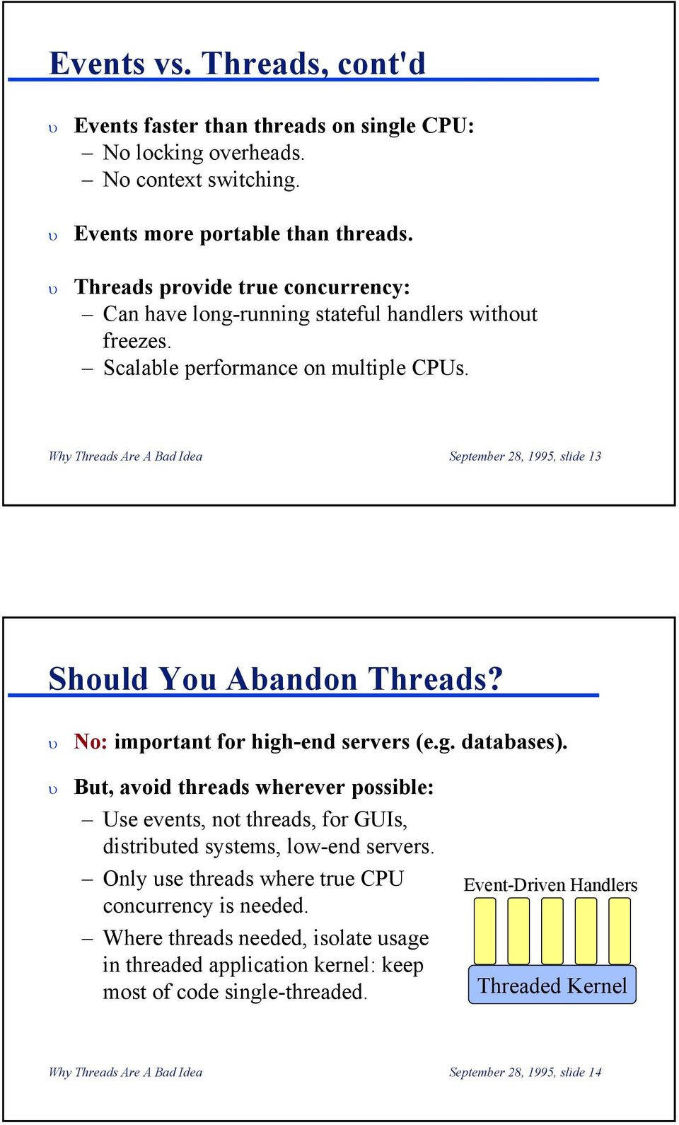 Why Threads Are A Bad Idea September 28, 1995, slide 13 Should You Abandon Threads? No: important for high-end servers (e.g. databases).
