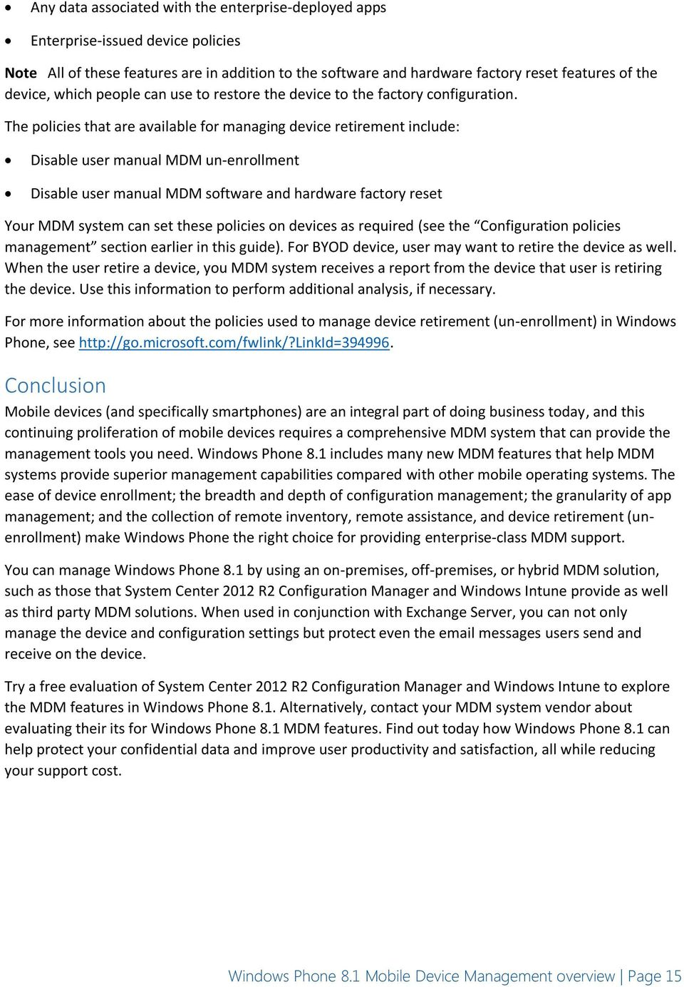 Windows Phone 8 1 Mobile Device Management Overview - PDF