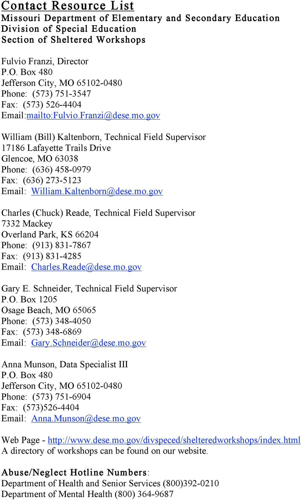 Contact Resource List Missouri Department Of Elementary And