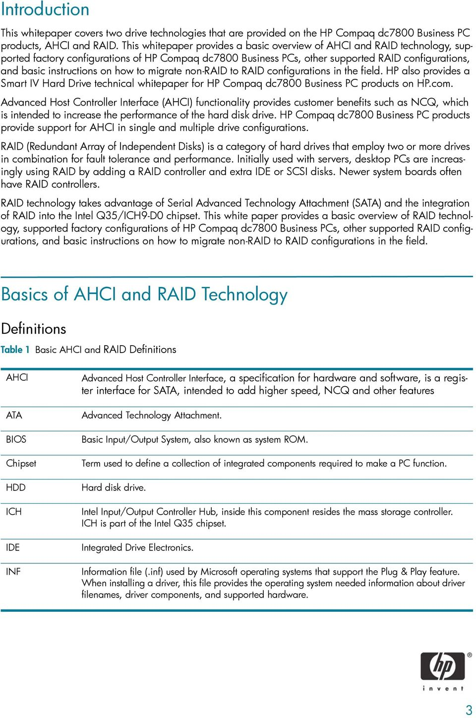Advanced Host Controller Interface (AHCI) and Redundant Array of