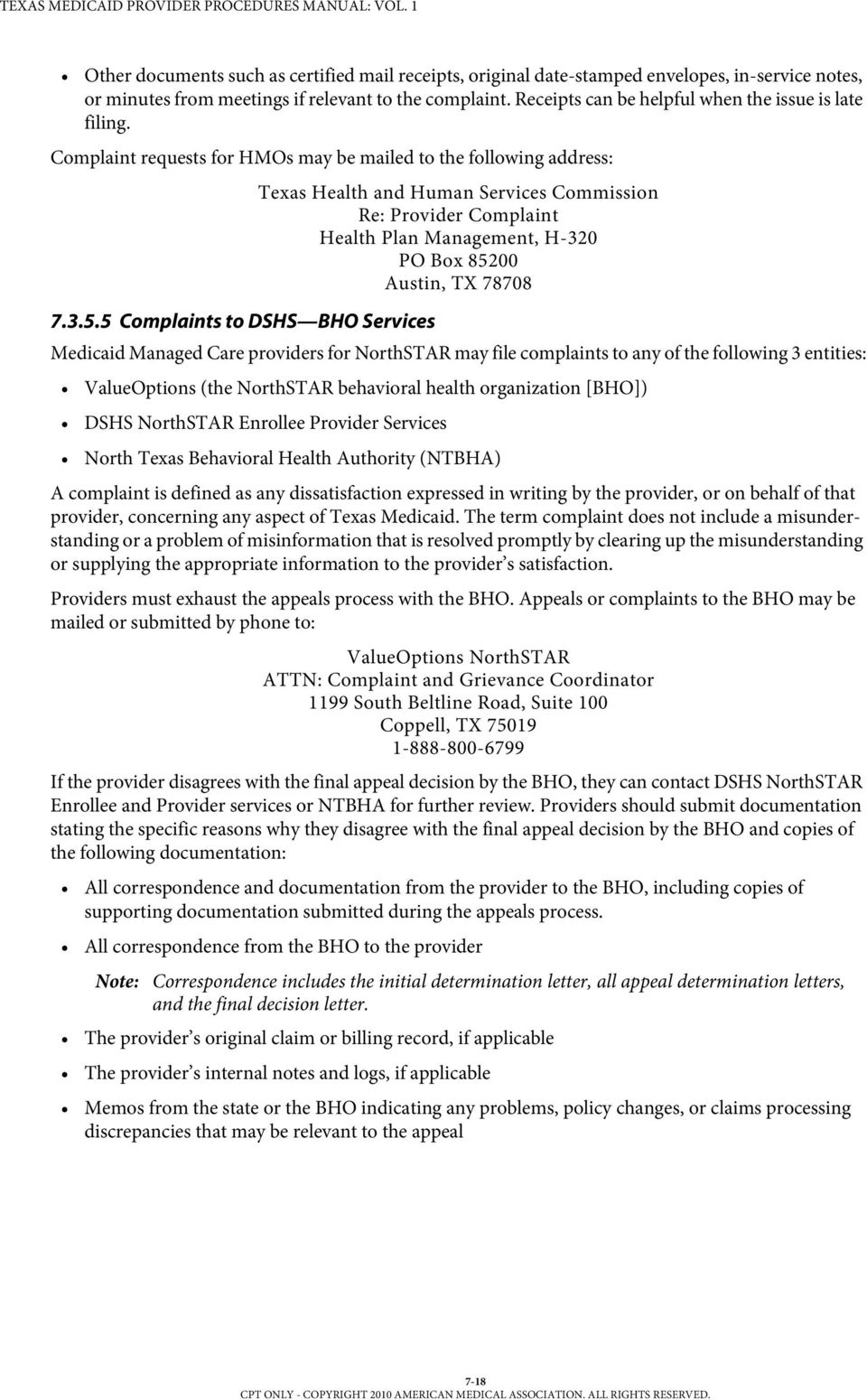 Section 7 Appeals Texas Medicaid Provider Procedures Manual Vol 1