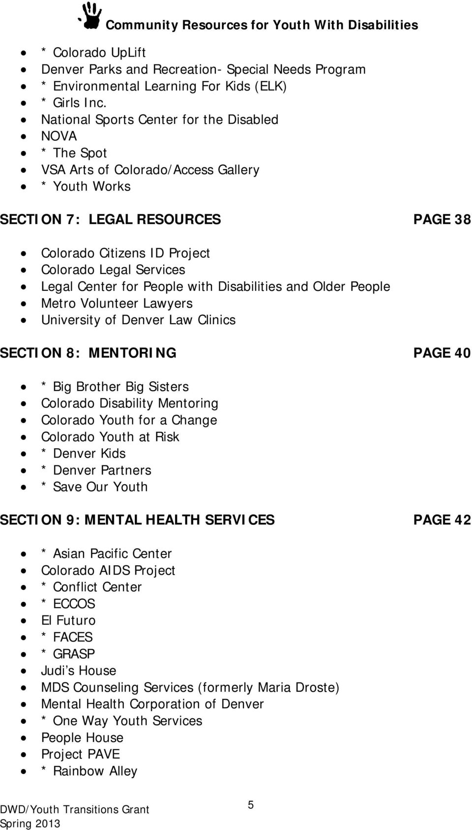Denver Community Resources for Youth with Disabilities - PDF