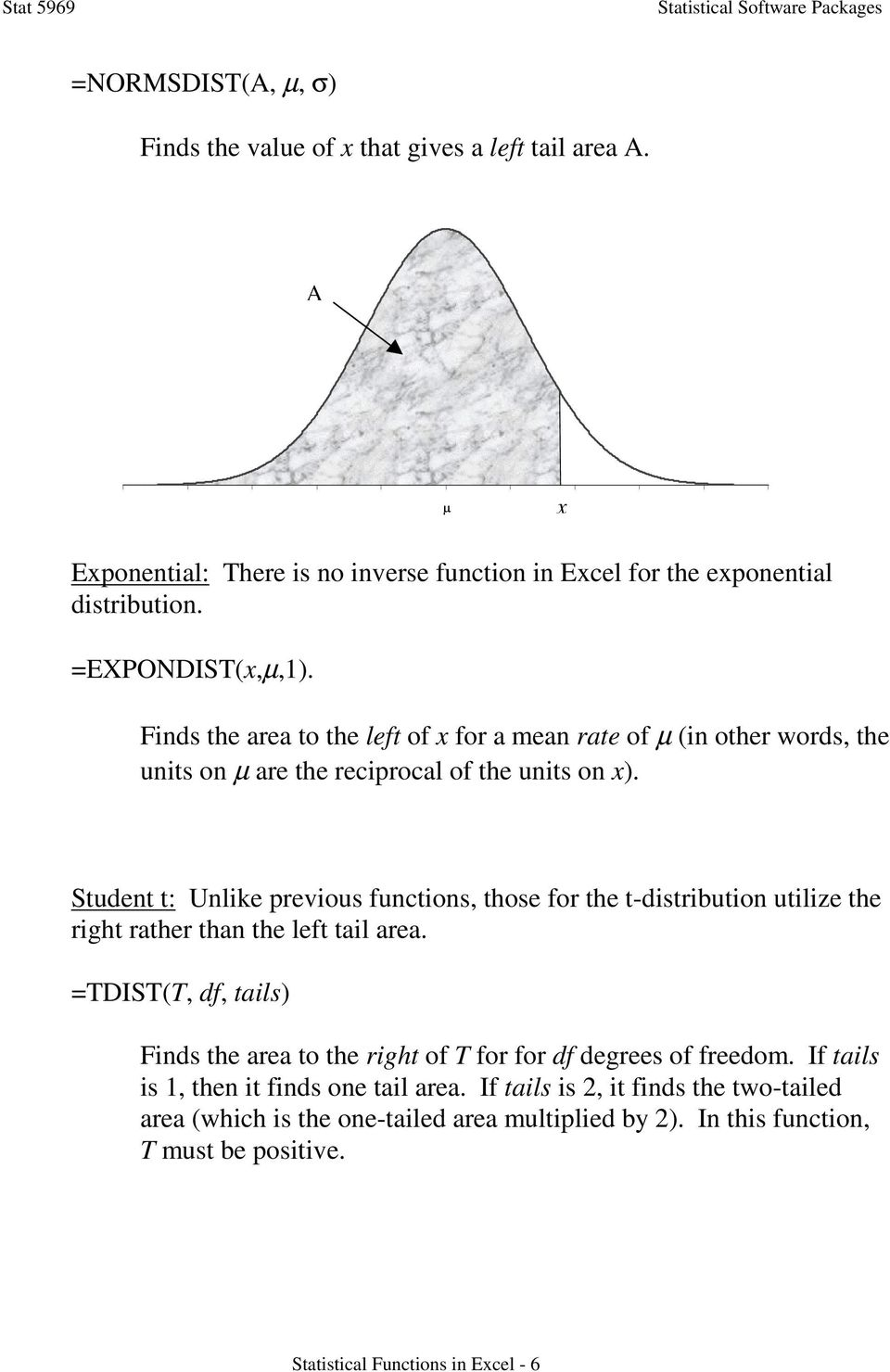 Statistical Functions in Excel - PDF