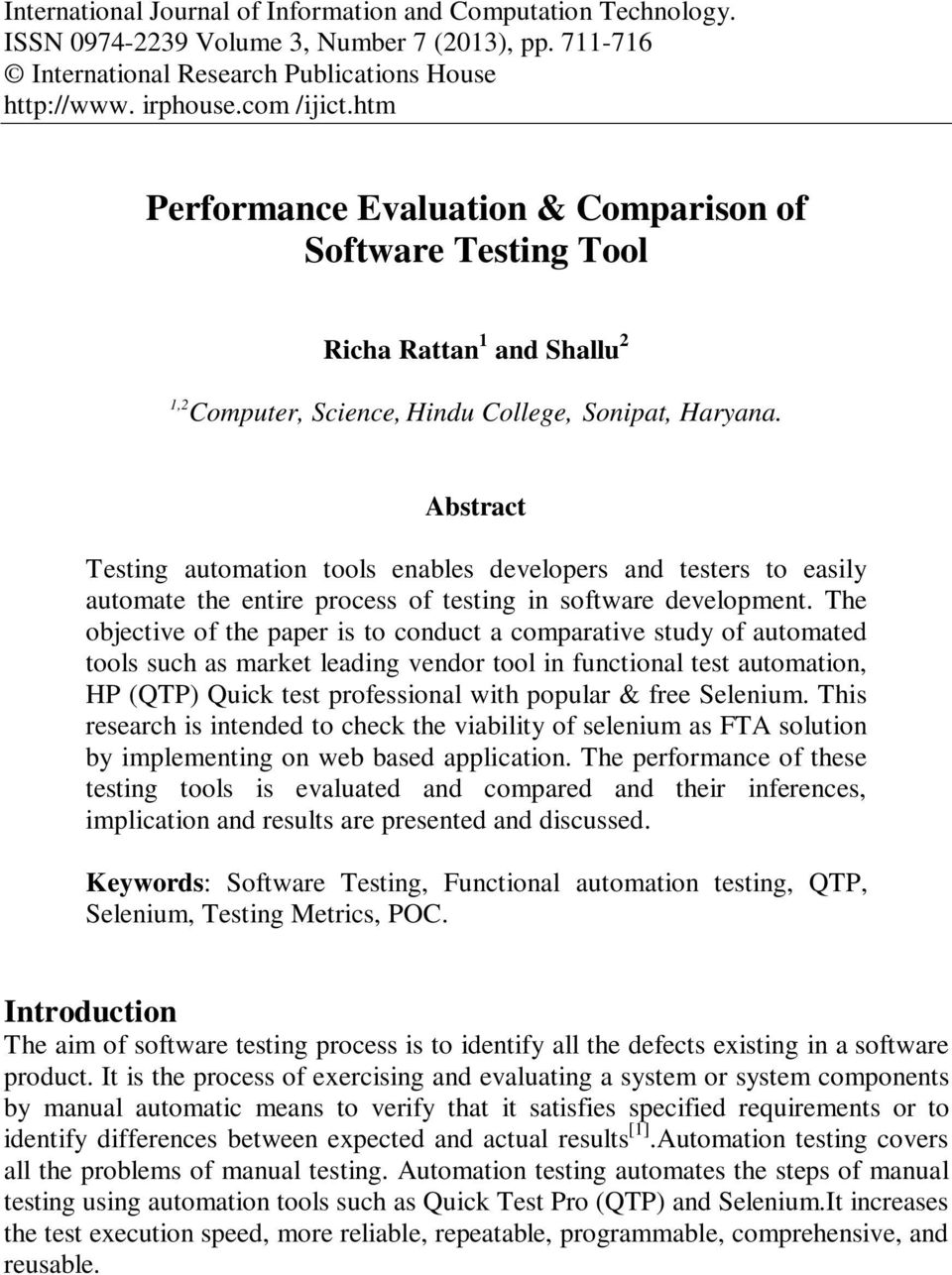 Performance Evaluation & Comparison of Software Testing Tool