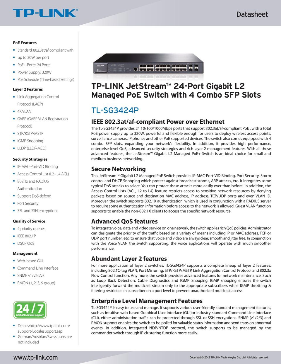 TP-LINK  24-Port Gigabit L2 Managed PoE Switch with 4 Combo