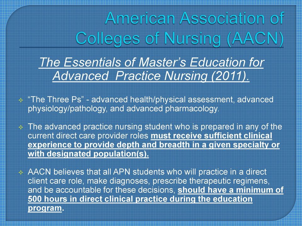 The advanced practice nursing student who is prepared in any of the current direct care provider roles must receive sufficient clinical experience to provide depth and
