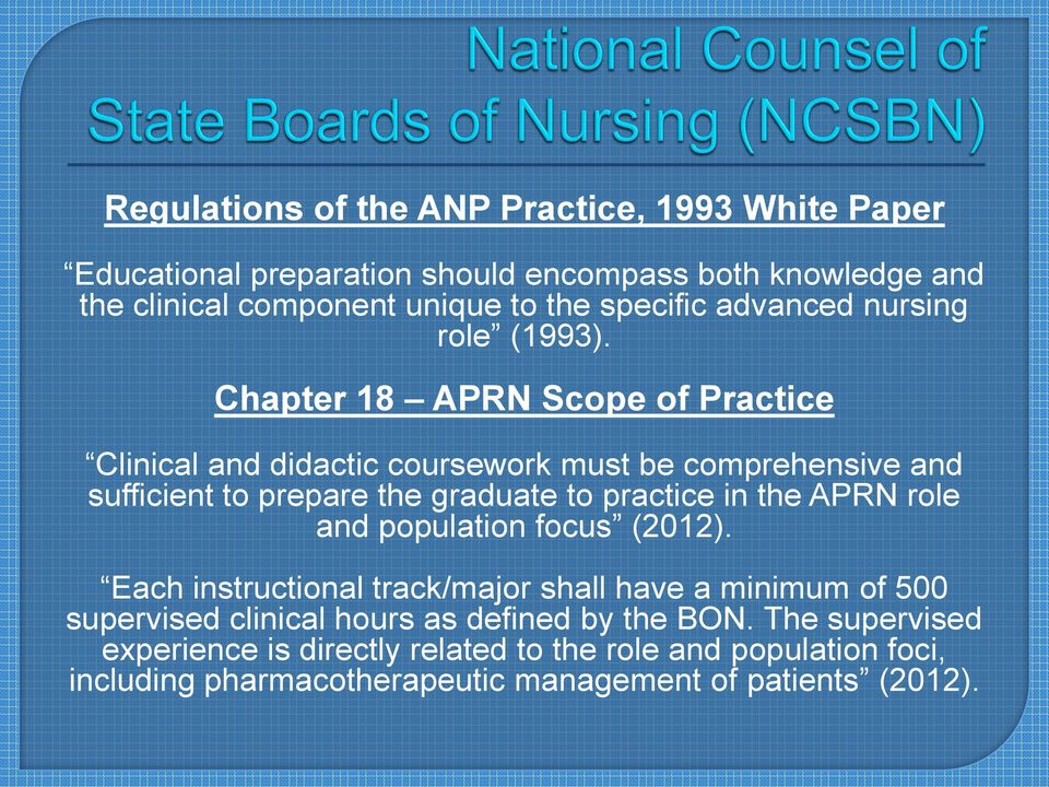 Chapter 18 APRN Scope of Practice Clinical and didactic coursework must be comprehensive and sufficient to prepare the graduate to practice in the APRN