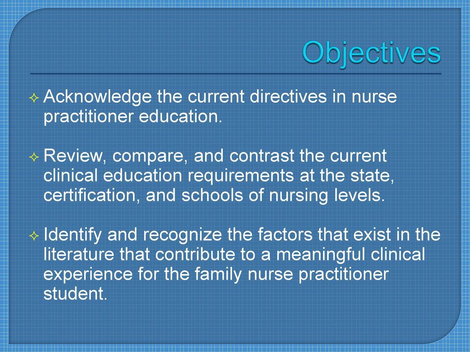 certification, and schools of nursing levels.