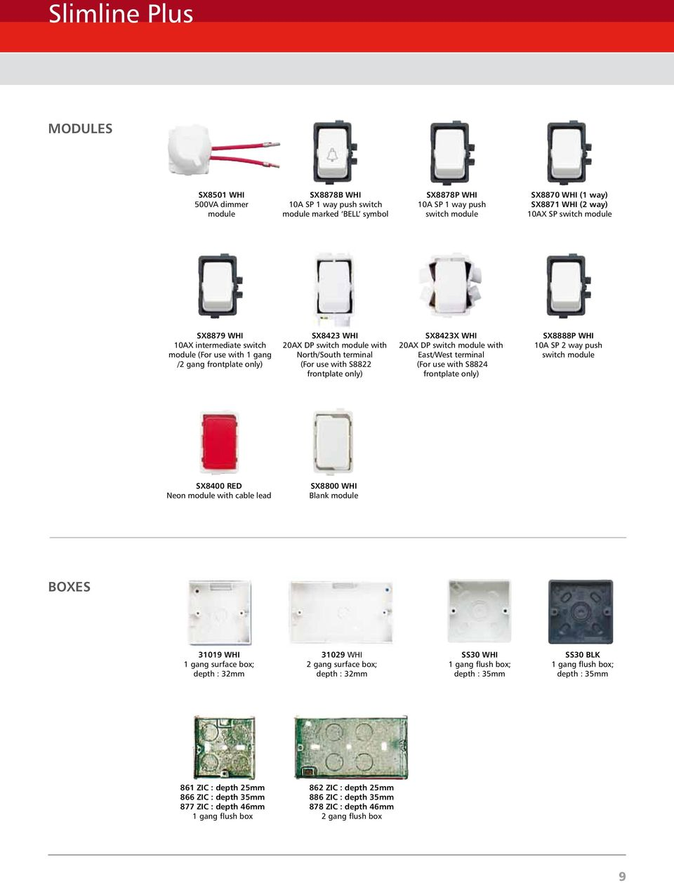 Slimline Plus Catalogue No R6 Pdf 2 Way Flush Switch Function Frontplate Only Sx8423x Whi 20ax Dp Module With East West Terminal For