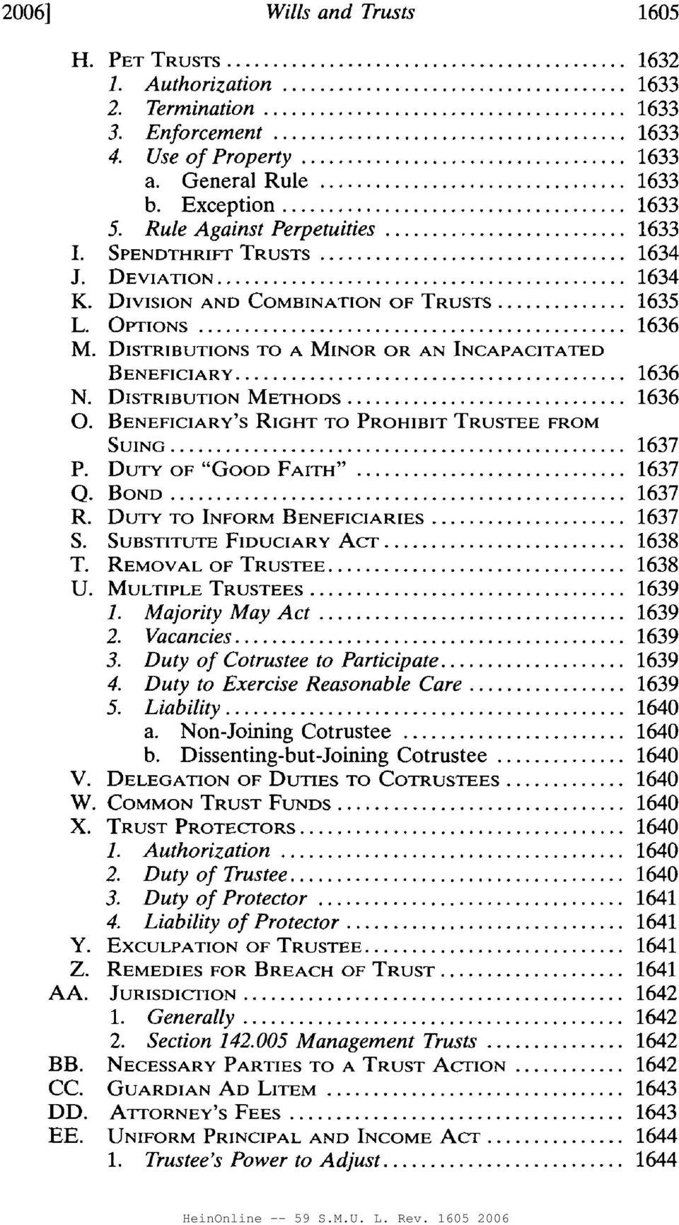 WILLS AND TRUSTS  Gerry W  Beyer* TABLE OF CONTENTS - PDF