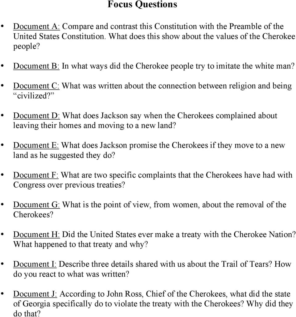 Documents  Document A: The Cherokee Constitution of Document B