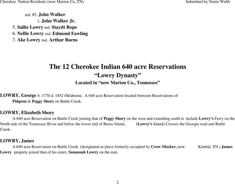 CHEROKEE NATION RESIDENTS Marion County, Tennessee - PDF