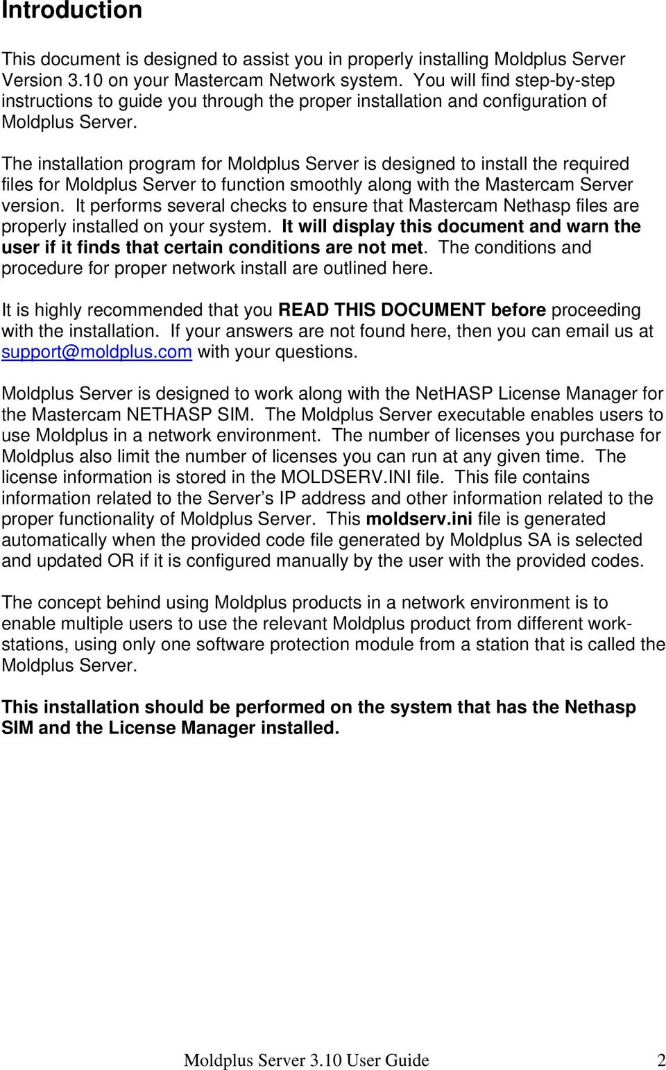 Moldplus Server Installation Guide Version 3 10 Revision date