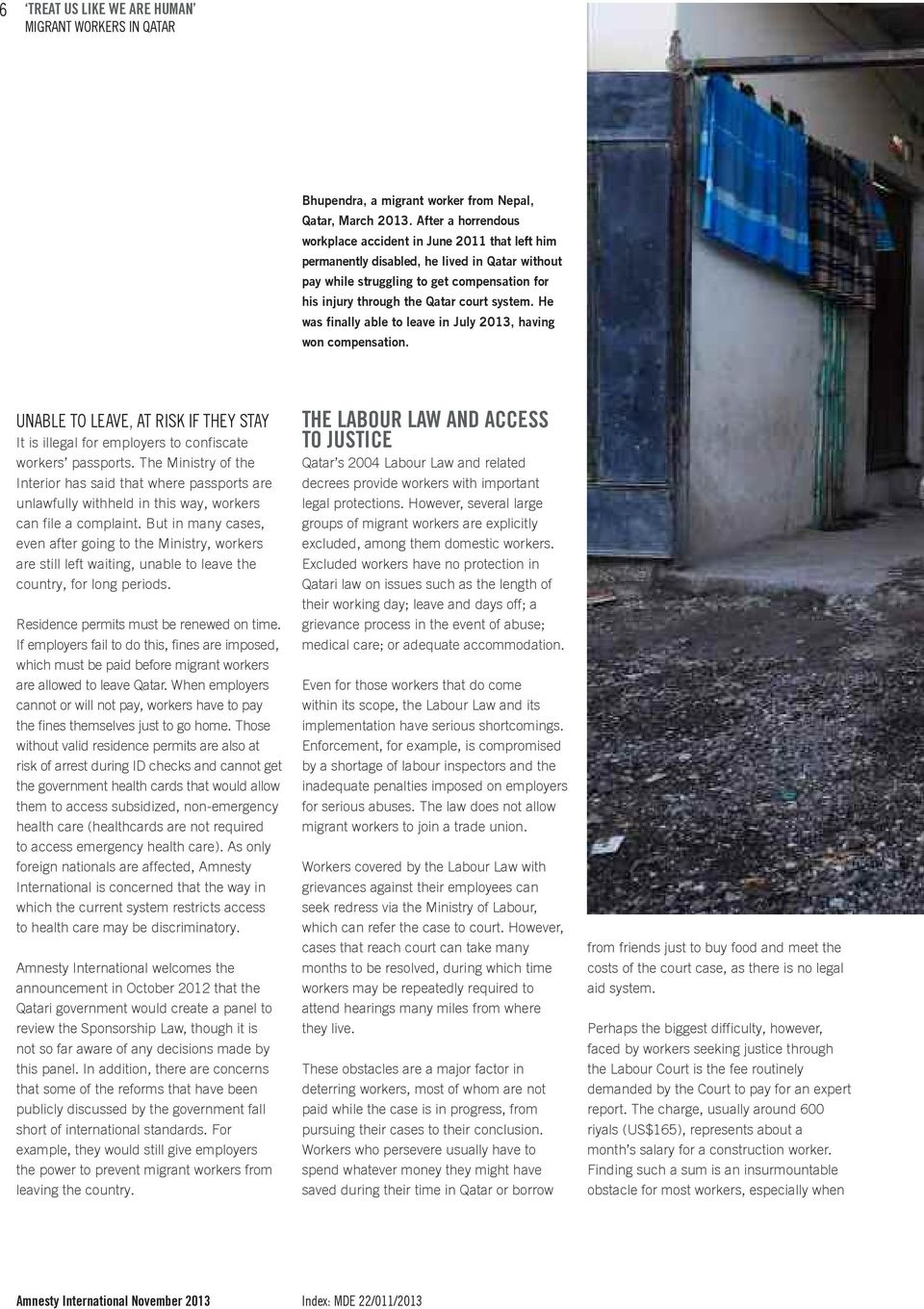 TREAT US LIKE WE ARE HUMAN MIGRANT WORKERS IN QATAR - PDF