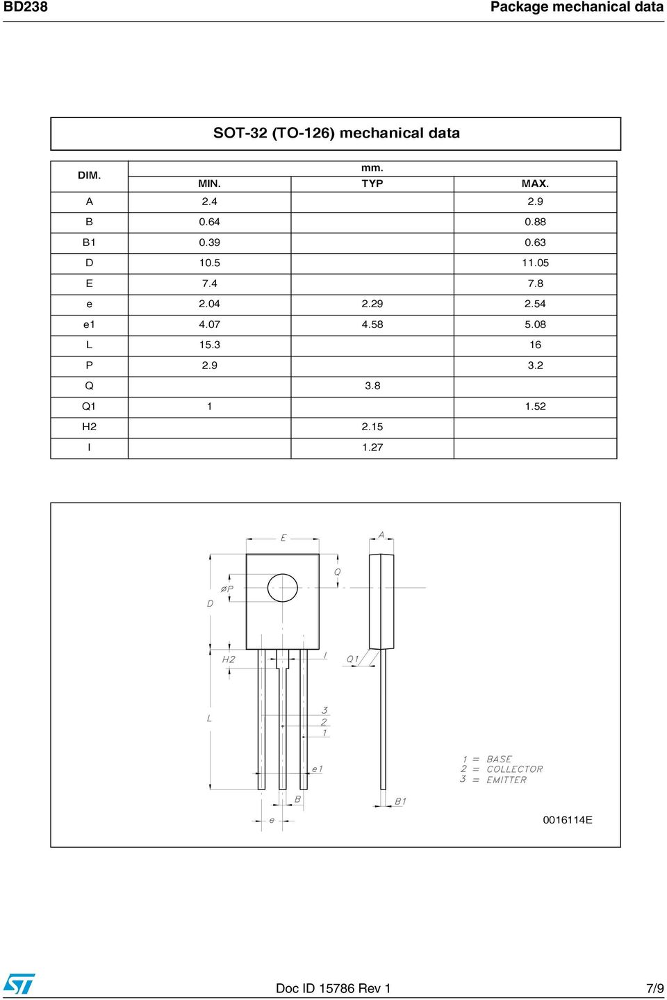 Bd238 Low Voltage Pnp Power Transistor Features Applications Bta41 600b Datasheet Application Note Electronic Circuit Projects 05 E 74 78 204 229 254 E1 407 458 508 L 153 16 P