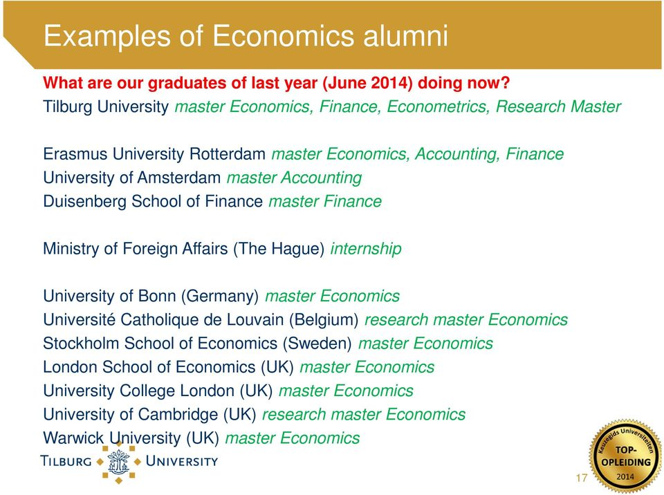 Accounting Duisenberg School of Finance master Finance Ministry of Foreign Affairs (The Hague) internship University of Bonn (Germany) master Economics Université Catholique de