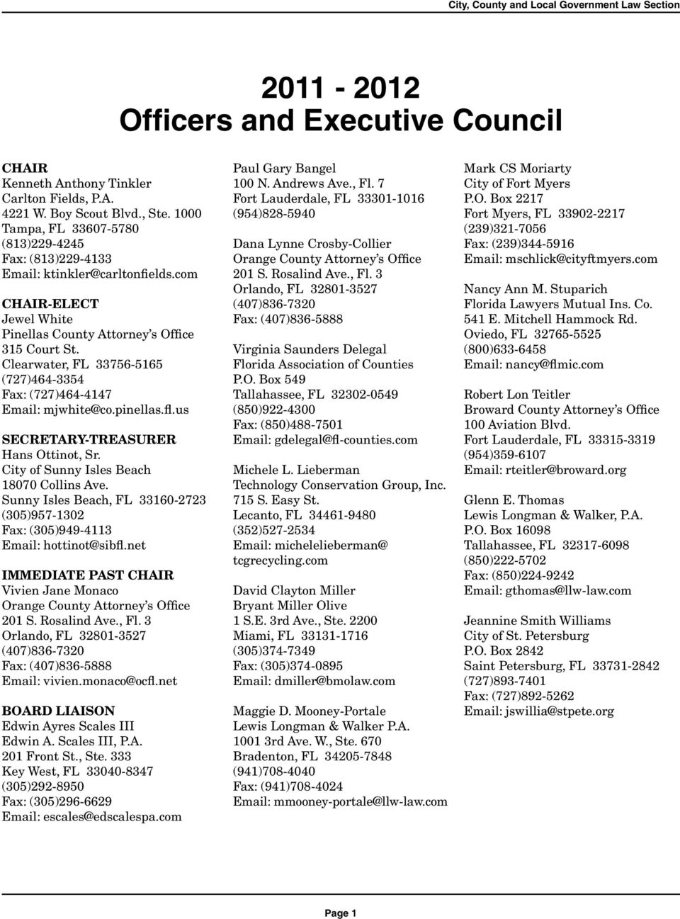 City County Local Government Law Section Membership Directory Pdf Florida Mediation Locations Ken Bowen Esq Pinellas Clearwater Fl 33756 5165 727464 3354 Fax 727