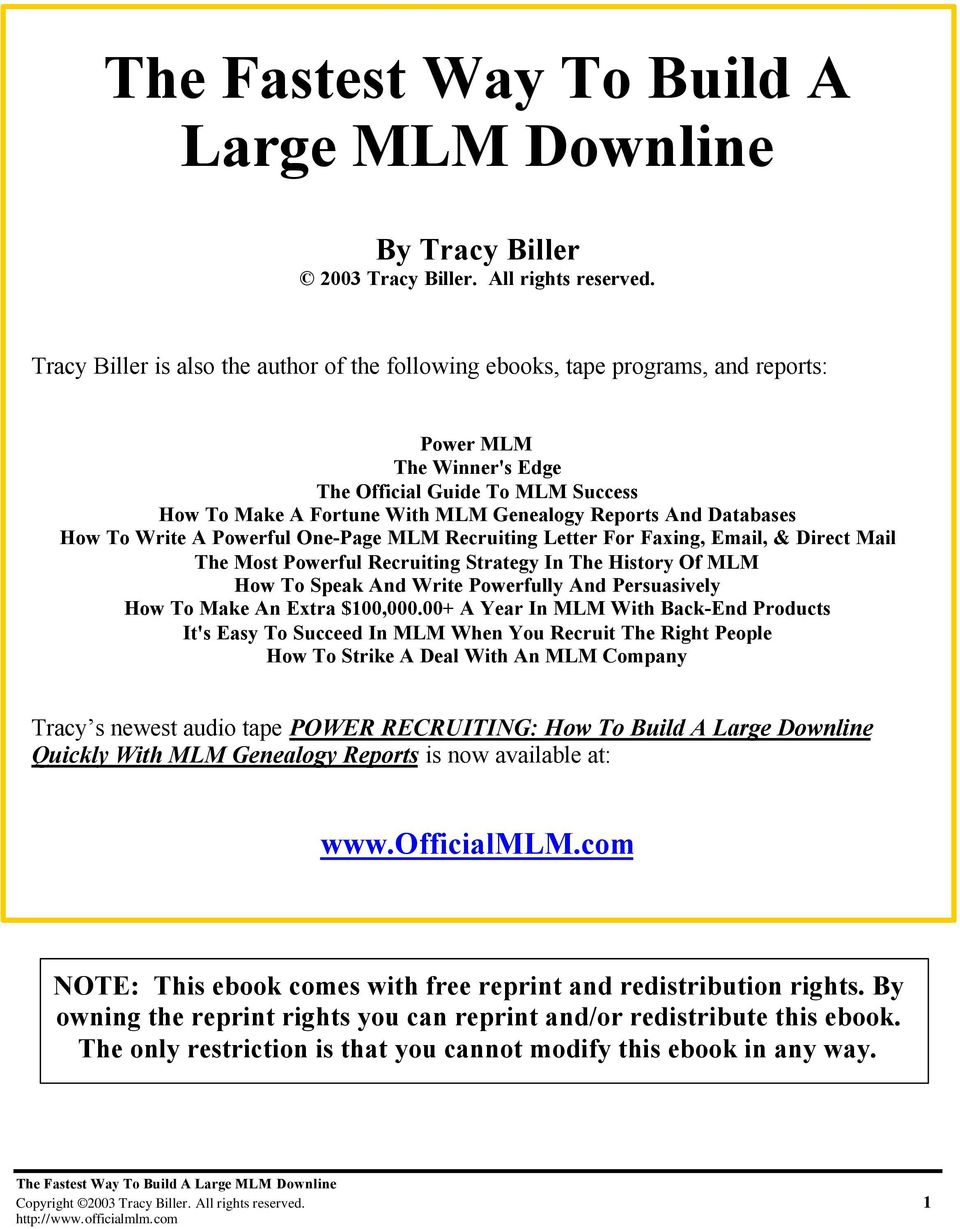 The Fastest Way To Build A Large MLM Downline - PDF