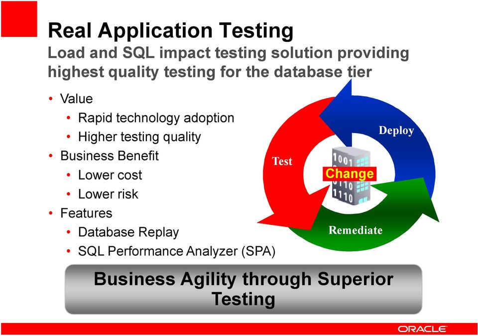 quality Business Benefit Lower cost Lower risk Features Database Replay SQL