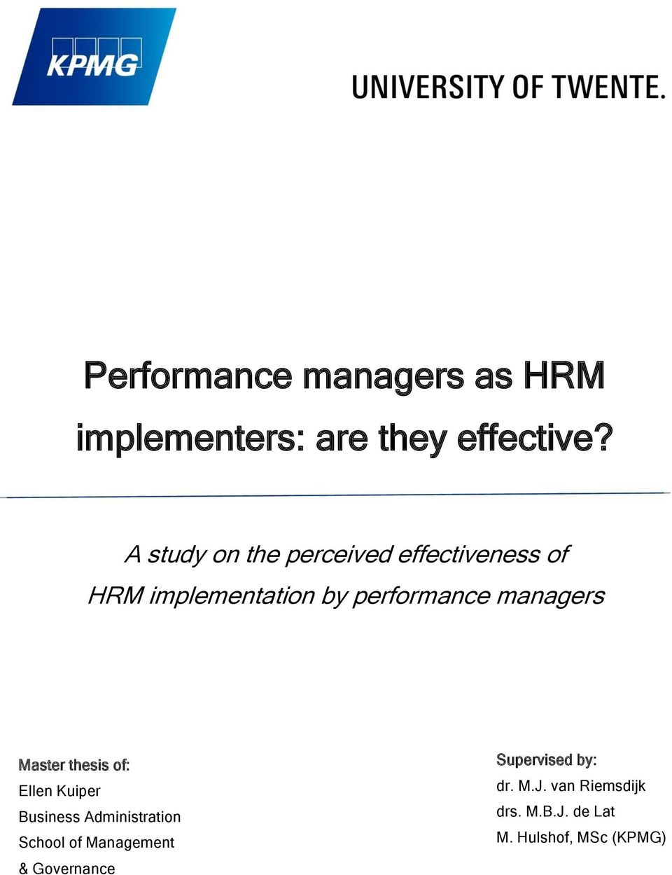 performance managers as hrm implementers are they effective? pdfmanagers master thesis of ellen kuiper business administration school of