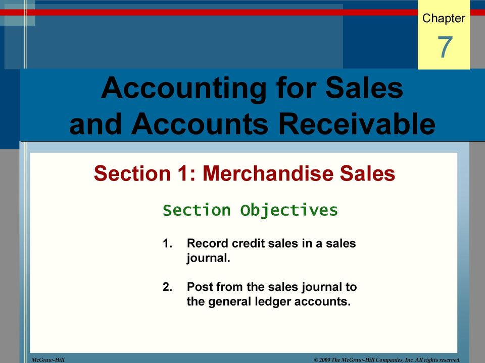 Merchandise Sales Section Objectives 1.