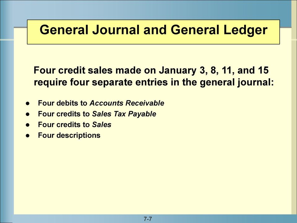 general journal: Four debits to Accounts Receivable Four