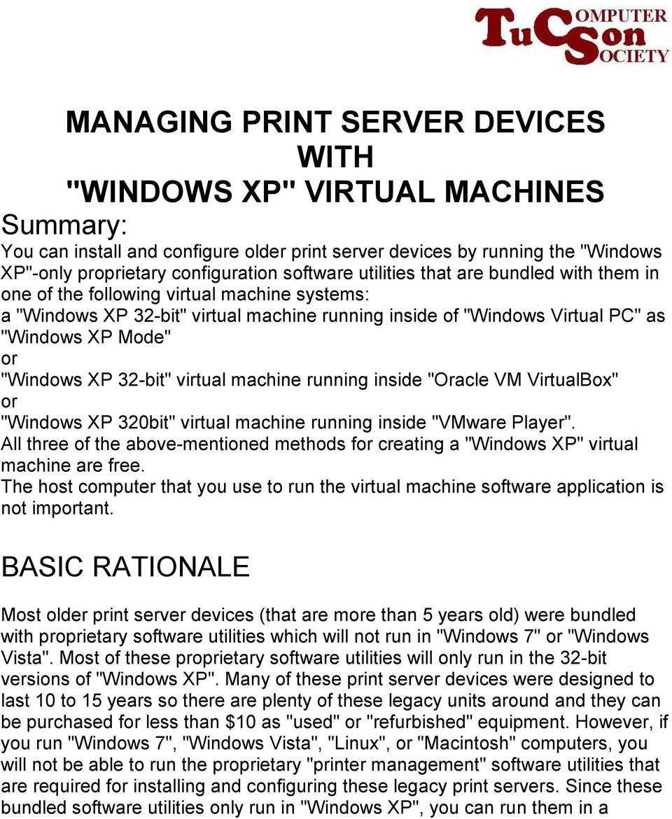 MANAGING PRINT SERVER DEVICES WITH